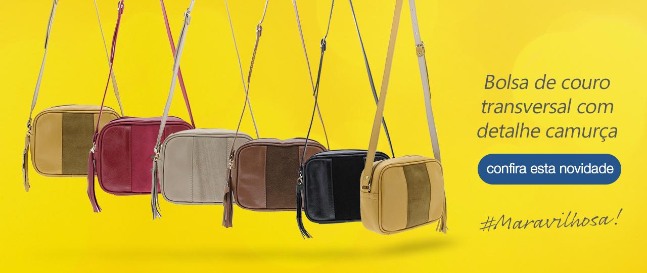 Bolsa de couro com camurça